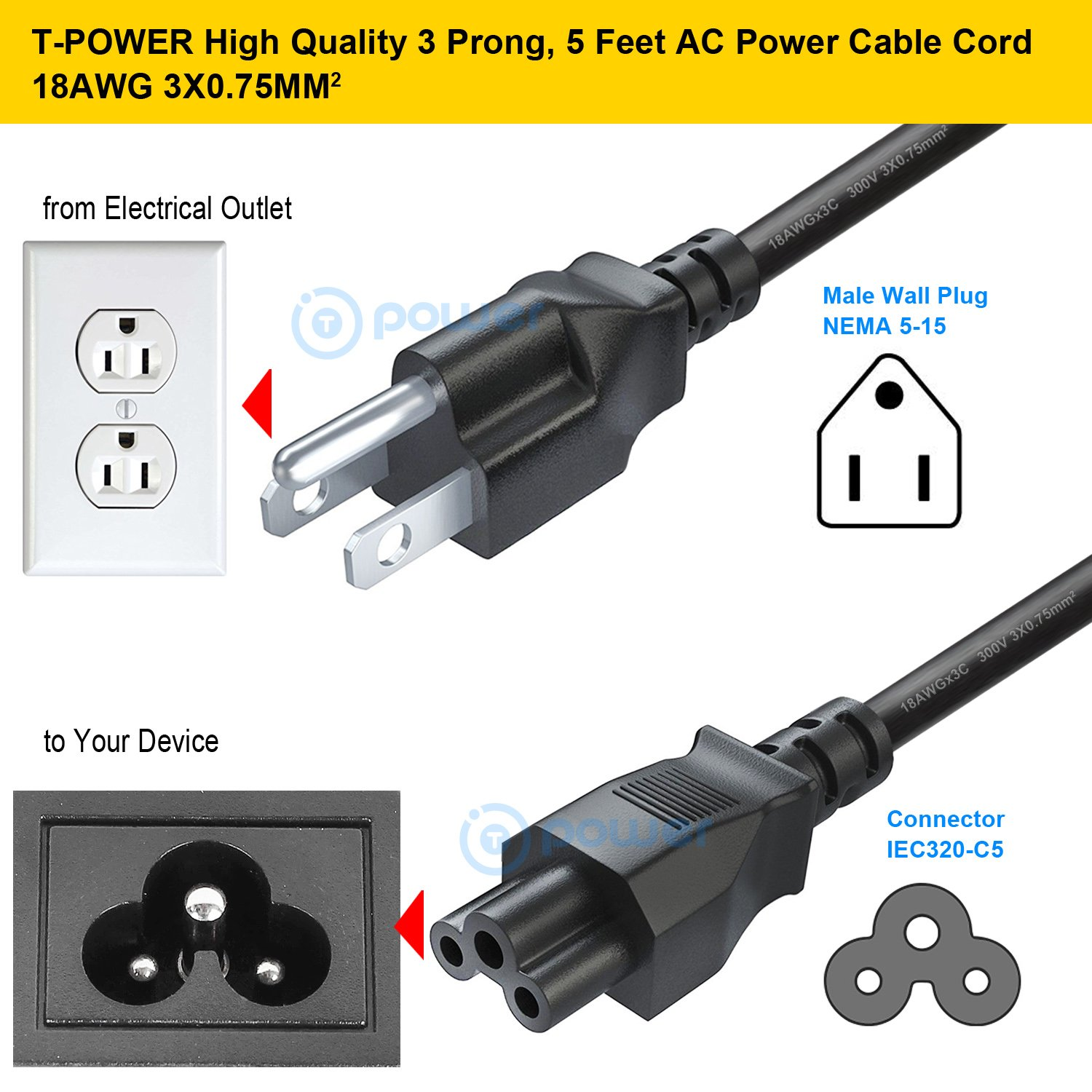 T Power 5ft Long 3 Prong Tv Cord For Lg Led Lcd Heavyduty 3wire Replacement Male Electrical Plug Amazoncom Smart 1080p Hdtv 32lb5600 42ln5400 42lb5600 42ln5700 42ln5300 47lb5800 50lb5900 55lb5900