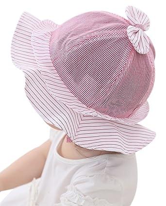 d6ee545ac54 GEMVIE Chapeau Forme Fleur Mignon Léger Anti-UV Soleil Enfant Bébé Bonnet  Rayure Nœud Rouge