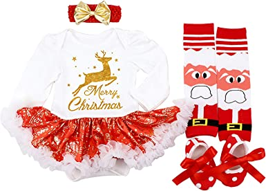 DecStore Baby Girls My First Christmas Costume Party Dress Tutu Outfits 4PCS Set