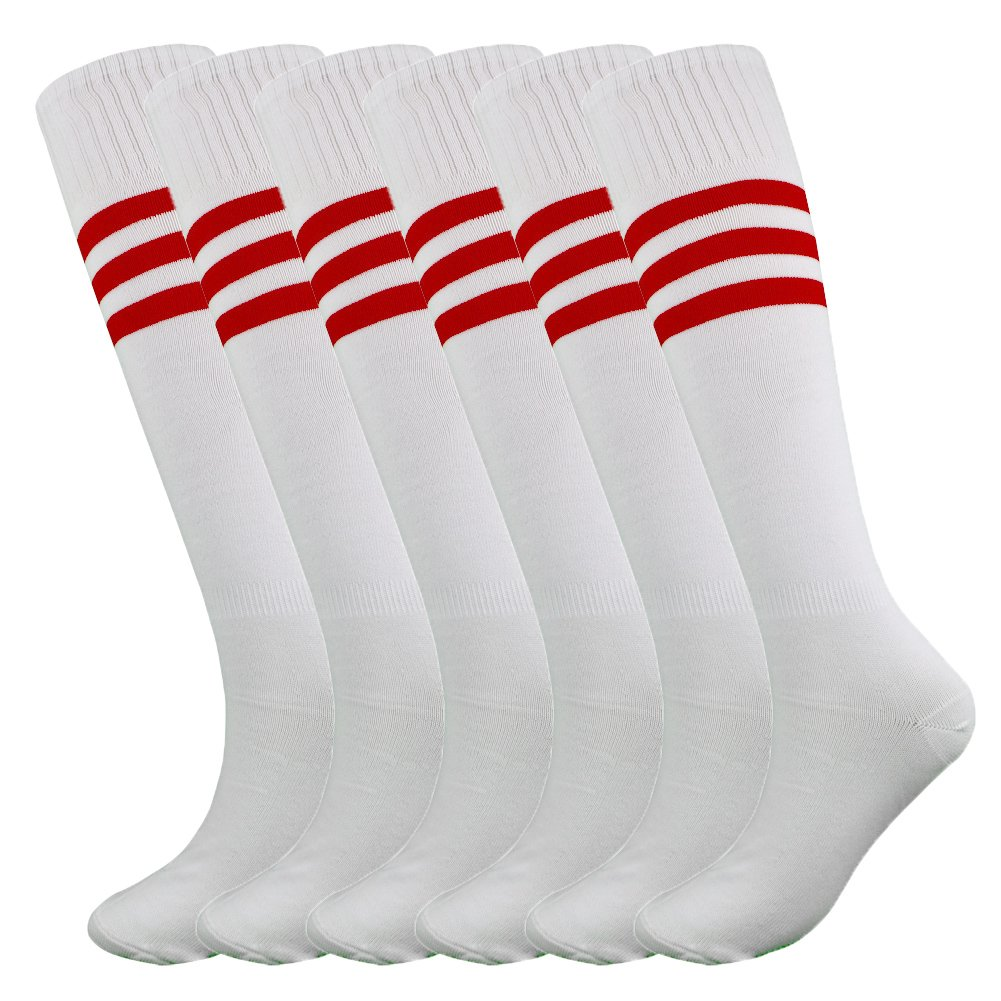 Fitliva Knee Length Striped Unisex Sports Socks Multicolor 3//6//12 Pairs
