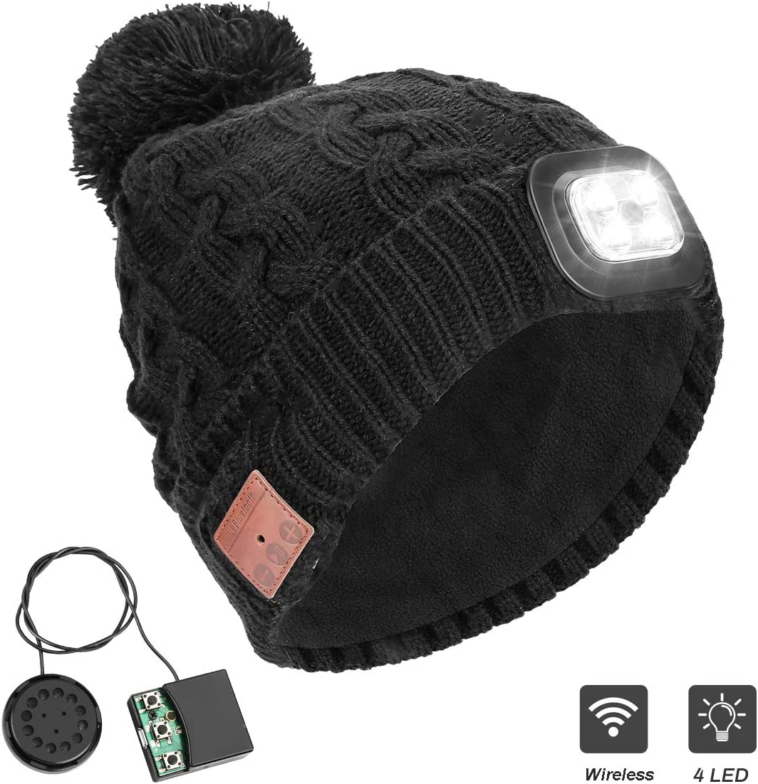 Number-one Wireless Beanie Hat with LED Headlight Handsfree Winter Warm Bluetooh Beanies Wireless Headphones Headset 5.0 Rechargeable Unisex Knitted Musical Cap for Running Skiing Camping Cycling