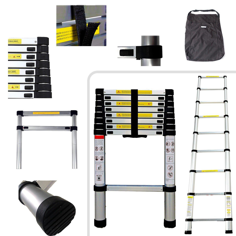 Todeco - Teleskopleiter, Klappleiter - Maximale Belastbarkeit: 150 kg - Material: Aluminiumlegierung - 2,6 Meter, GRATIS Tragetasche, EN 131