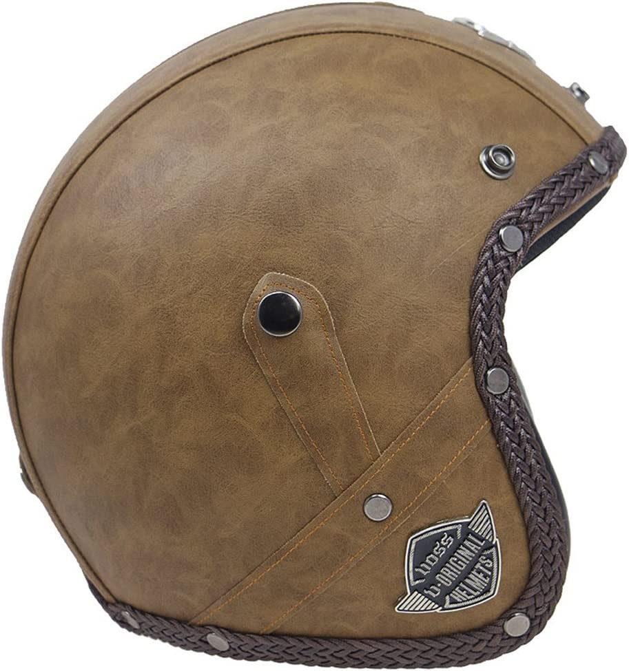 Shiwaki Cascos De Moto De La Vendimia 3//4 Abierto Chopper Bike Helmet Pu Leather Tipo 1 M