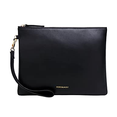 80e3e8a334 Soft Lambskin Leather Wristlet Clutch Bag For Women Designer Large Wallets  With Strap (Black)