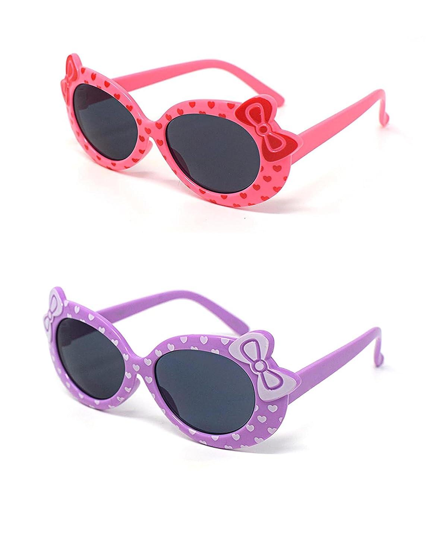 1 x púrpura 1 x niños de color rosa los niños niñas de estilo lindo diseñador gafas de sol de alta calidad con un arco y el corazón estilo UV400 gafas de sol gafas de protecció