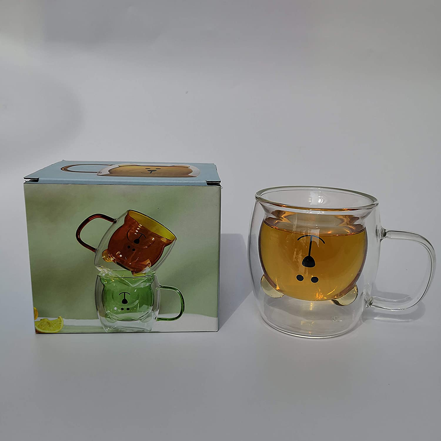 Chiatai Cute Bear Double Walled Insulated Glass Espresso 8.5Oz Cup Milk Tea Coffee Glass Mug with Handle Latte Cup Xmas Gift amber