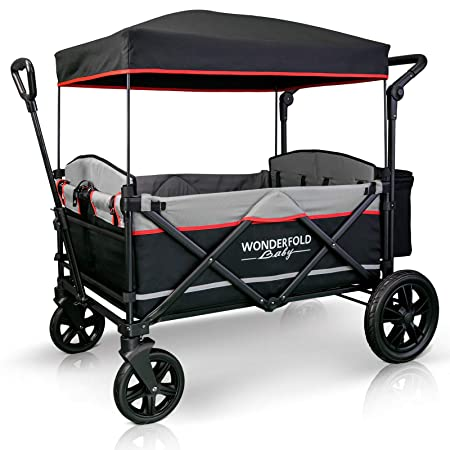 WonderFold Baby XXL 4-Passenger Pull Push Quad Stroller Wagon with Adjustable Handle Bar, Removable Canopy, Safety Seats with 5-Point Harness, One-Step Foot Brake Black