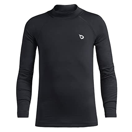 b8707fd7 Baleaf Youth Boys' Compression Thermal Shirt Fleece Baselayer Long Sleeve  Mock Top Black Size S