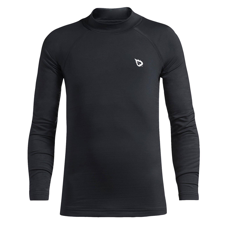 Baleaf Youth Boys' Compression Thermal Shirt Fleece Baselayer Long Sleeve Mock Top Black Size S