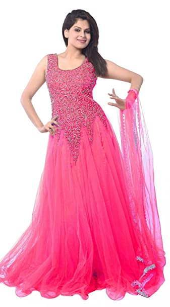 1f1246f02 Lady Loop Women's Net Gown Dress Material (Pink Net Gown _Pink_): Amazon.in:  Clothing & Accessories