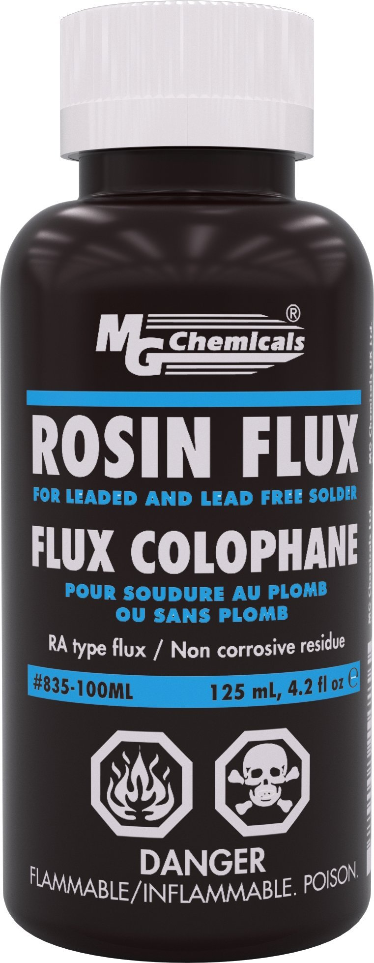 MG Chemicals Liquid Rosin Flux, for Leaded and Lead Free Solder, 125 ml Bottle