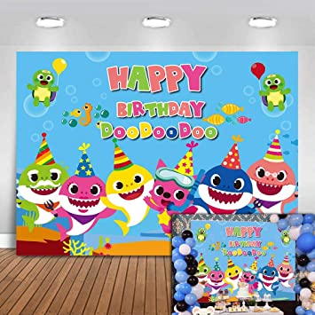 Cute Shark Family Photography Backdrops Undersea Vinyl Pictures Newborn  Children Happy Birthday Supplies Party City Banner Photo Backgrounds