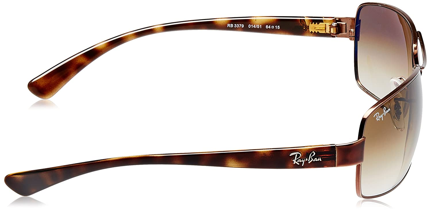 b169335c57 Ray-Ban Rectangular Sunglasses (Brown) (RB3379 014 51 64)  Amazon.in   Clothing   Accessories