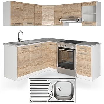 Vicco winkelküche inkl edelstahlspüle l form eckküche küchenzeile sonoma eiche frei kombinierbare einheiten