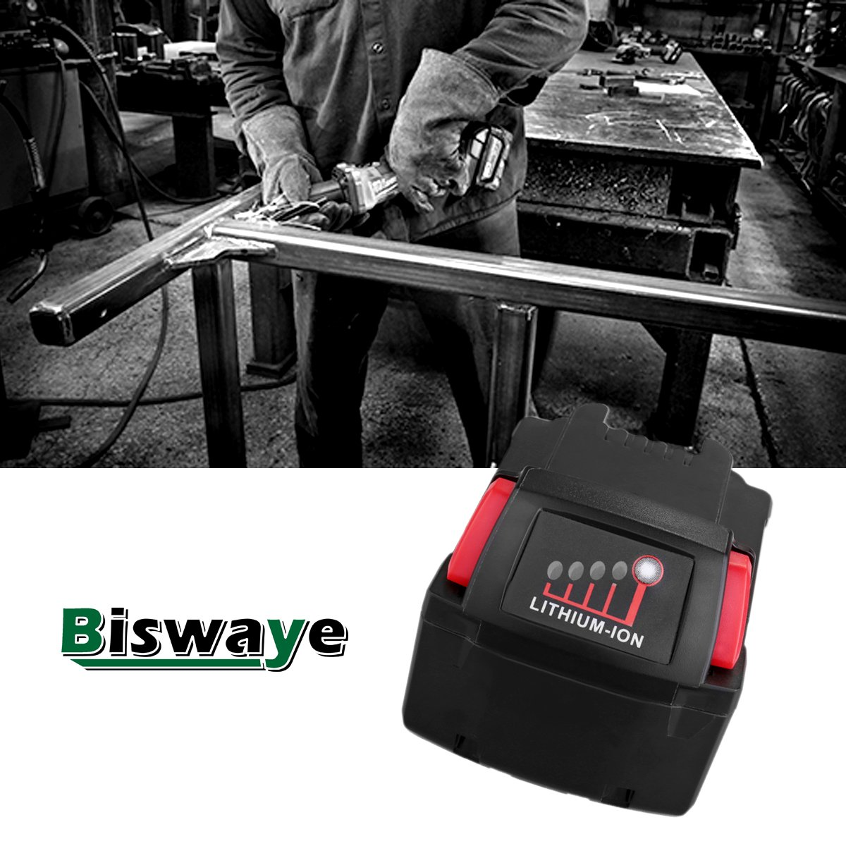 Biswaye 2 Pack 18V 5.0Ah Replacement Battery for Milwaukee 18V High Capacity Red Lithium Cordless Power Tools Battery M18 XC M18B 48-11-1820 48-11-1850 48-11-1828 by Biswaye (Image #5)