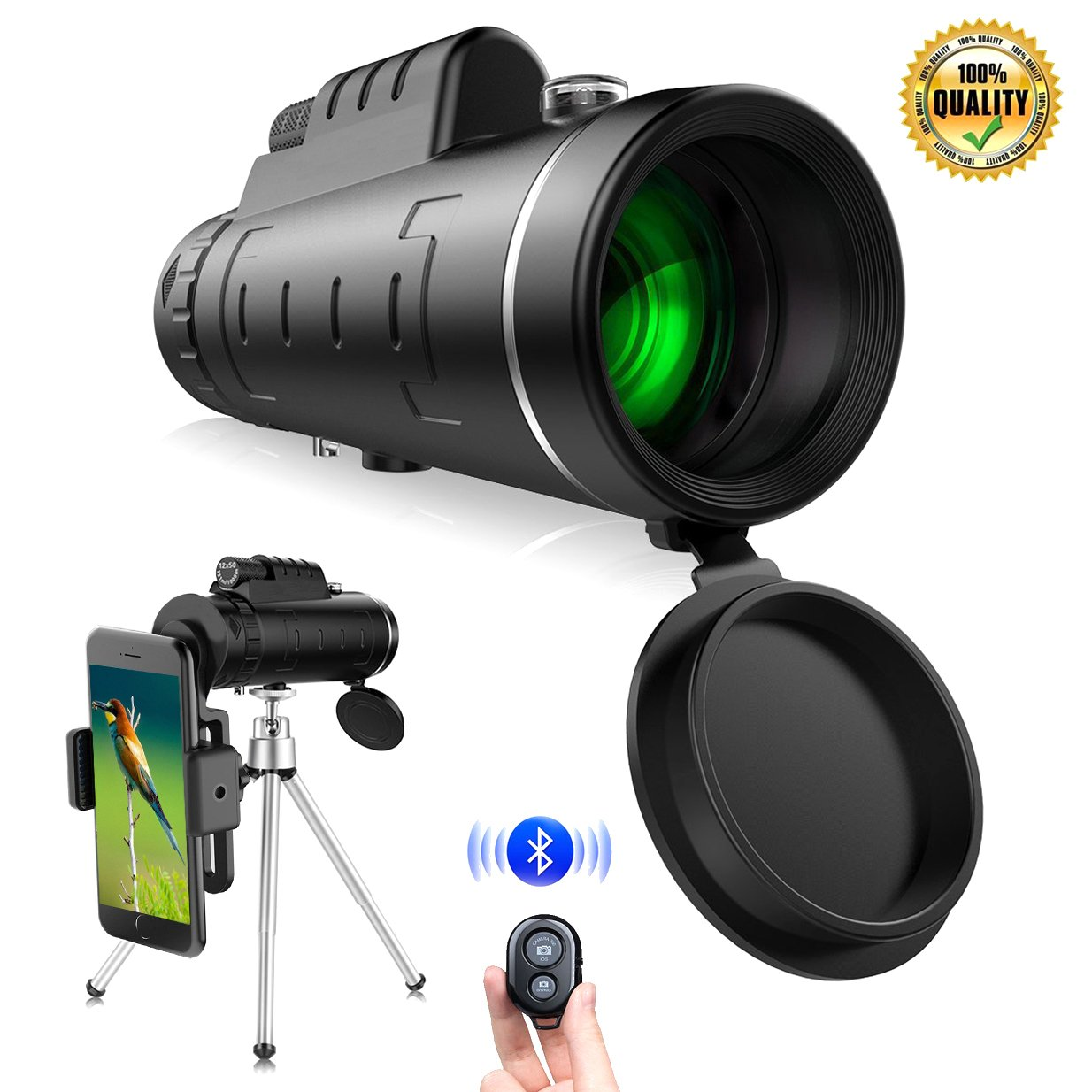 Monocular Telescopes, IHOMKIT 40x60 BAK4 Prism Waterproof Spotting Monocular Scopes, Low Night Vision for Outdoor Bird Watching Hunting Camping Hiking,with Tripod and Phone Clip Adapter,Black by IHOMKIT