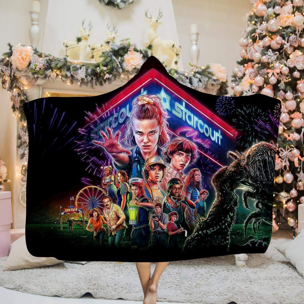 Free Youtoo Stranger Things Hooded Blanket Throw Wrap Oversized 3D Cloak Wearable Blankets by Free Youtoo