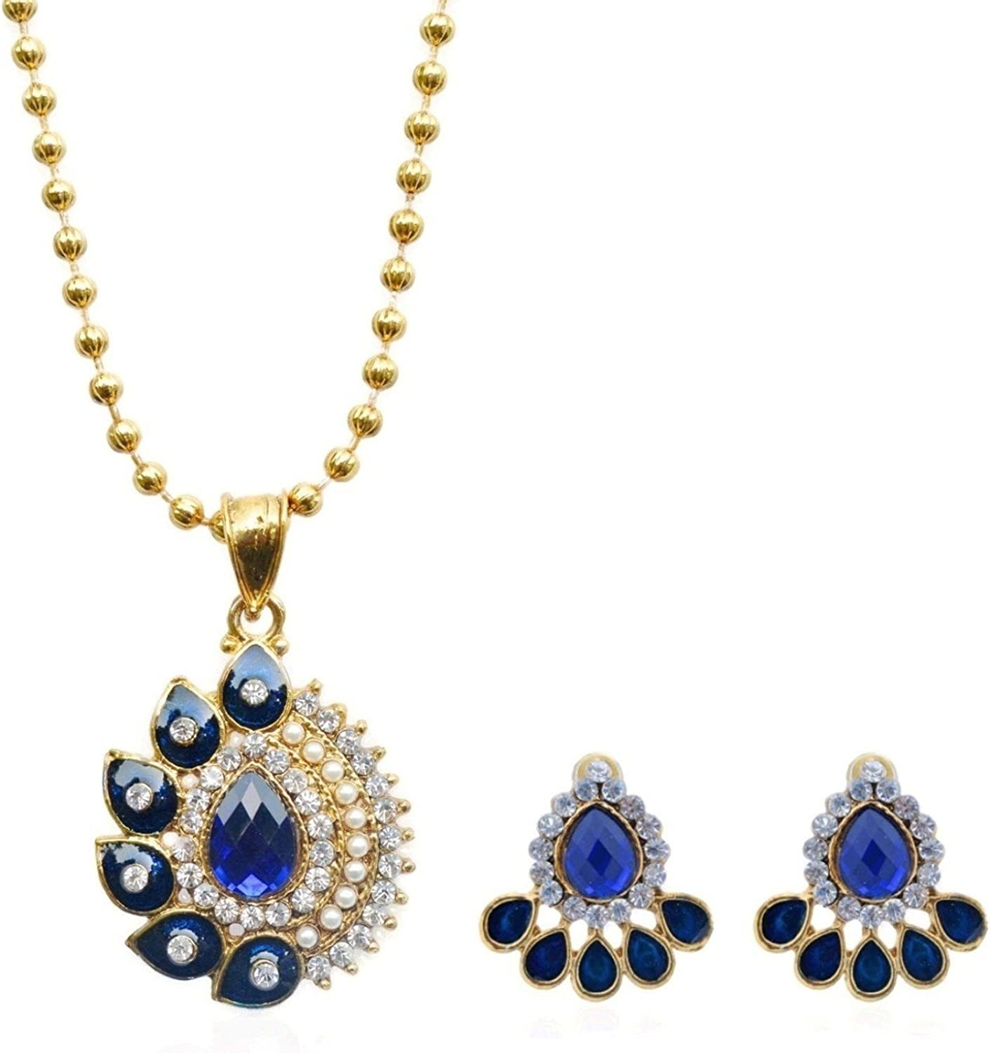 Royal Bling Elfin Royal Blue Studded Traditional Indian Jewelry Pendant Set for Women