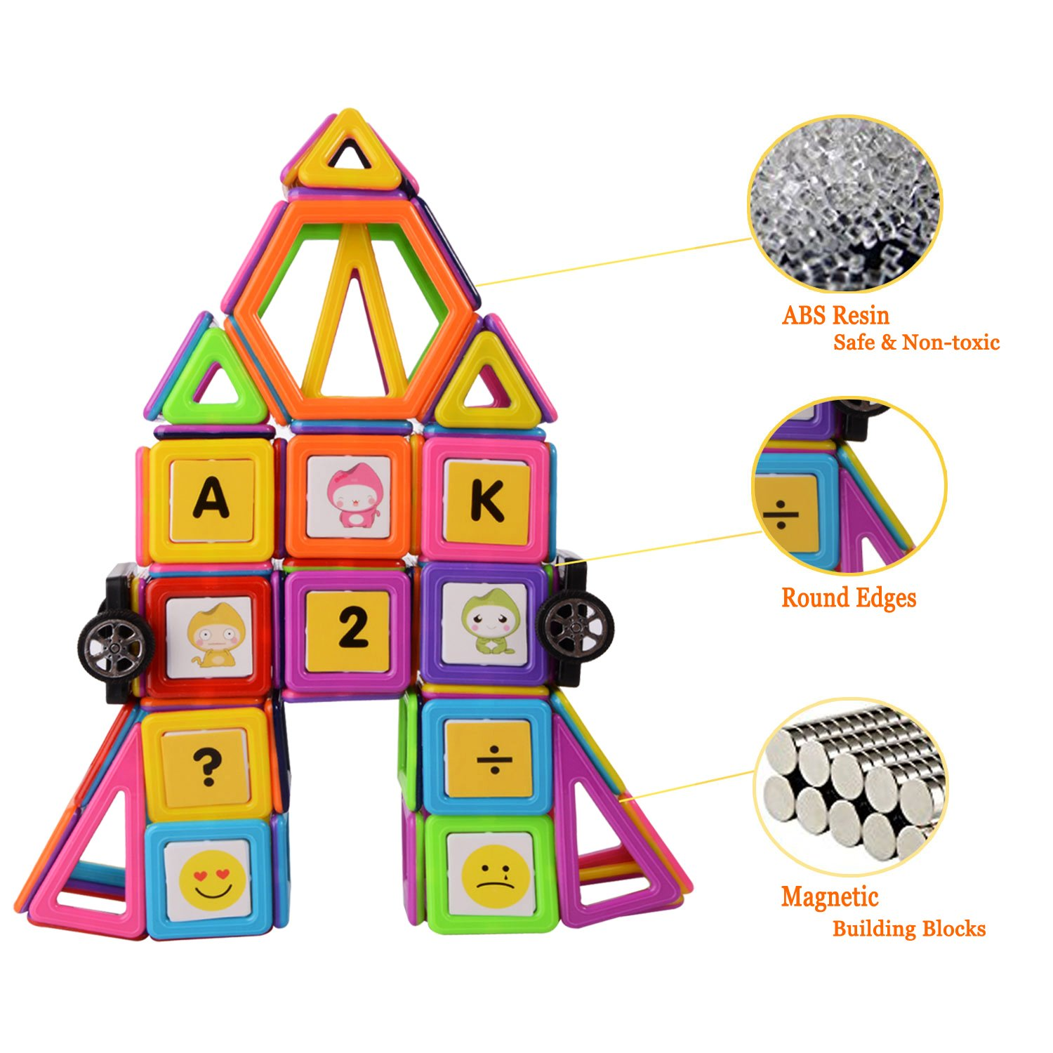 72 Pieces Magnetic Construction Stacking Educational Stacking Toys for Kids and Adults XUELIEE Magnetic Building Blocks Set