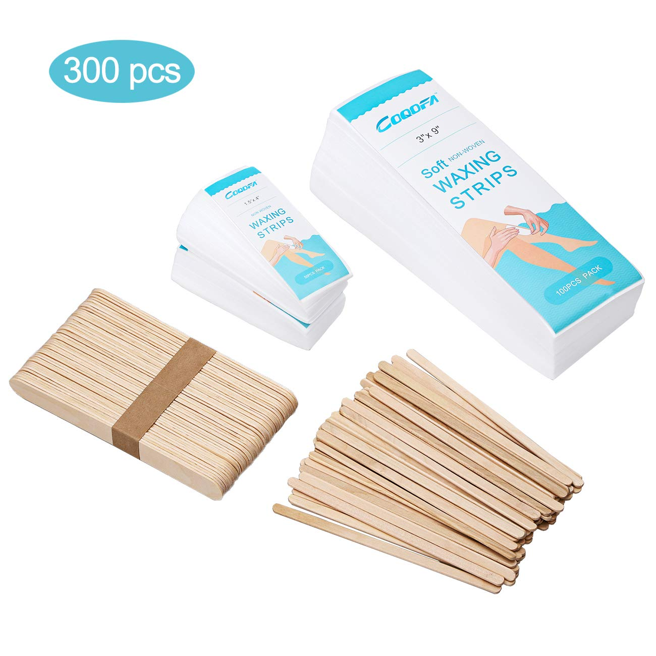 300 Pieces Waxing Strips, Non-Woven Hair Removal Wax Strips for Full Body Size and Unisex, 200 Pcs Wax Strips (100 Large, 100 Small) and 100 Pcs Wax Applicator Sticks (50 Large, 50 Small)