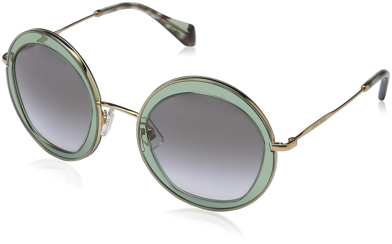 Miu Miu 50QS TWN1E0 Green Havana 50QS Round Sunglasses Lens ...