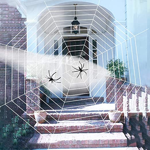 Rtudan Halloween Decoraciones 16.5 pies Gigante Tela de araña con ...