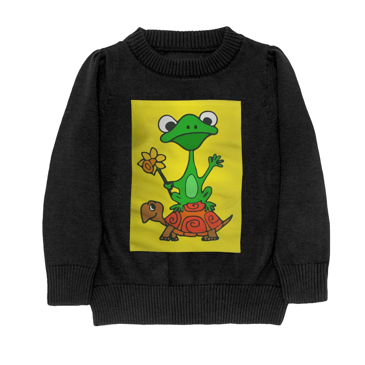 Funny Frog On Turtle Cool Adolescent Boys Girls Unisex Sweater Keep Warm