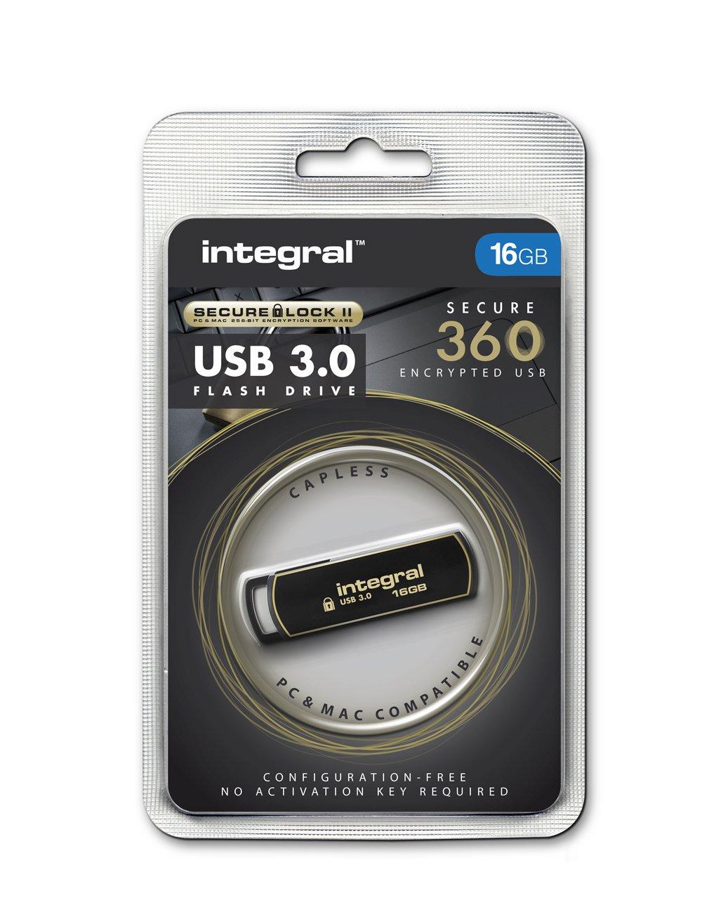 Integral 16gb Secure 360 Encrypted Usb30 Flash Drive Sandisk Usb Flashdisk Cruzer Blade Cz52 256 Bit Aes Encryption Computers Accessories