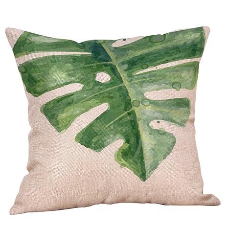 Lenfesh 40 x 40 cm Funda de Cojín de Hojas Verde de Lino ...
