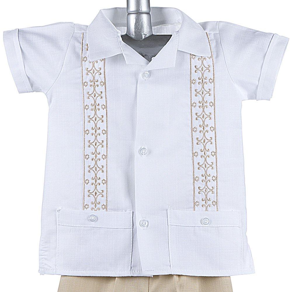 Boys Guayabera Shirt, Boys Baptism Shirt w/ Pants Set, Mexican Wedding Shirt, Cotton Guayabera, 702 BROWN
