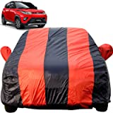 Autofact Car Body Cover for Mahindra KUV100 (Mirror Pocket Fabric, Triple Stiched, Fully Elastic, Red/Blue Color)