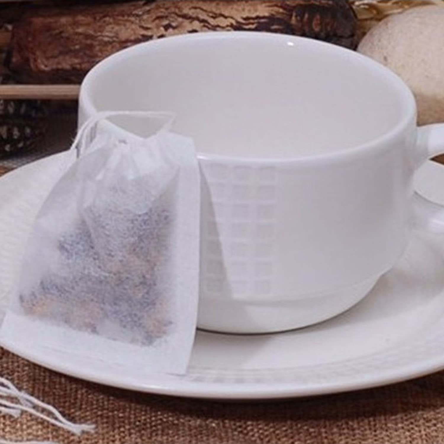 AIHOME Pack of 100 Empty Disposable Multi-purpose String Heat Seal Filter Paper Tea Bags for Herb Loose Leaf Tea