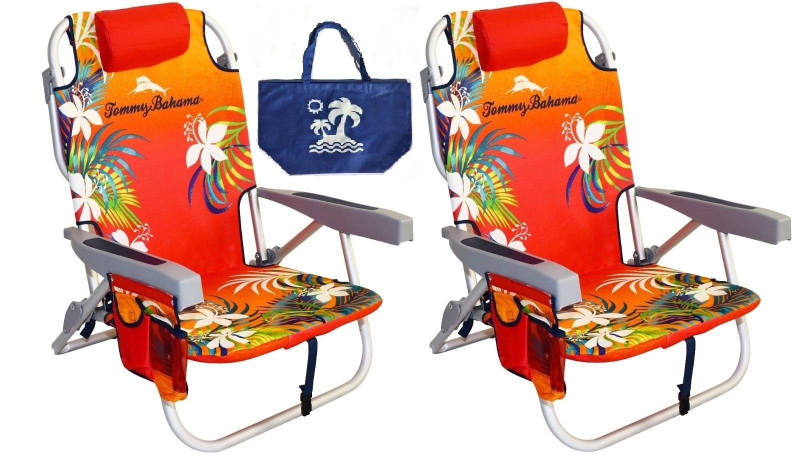 2 Tommy Bahama Backpack Beach Chairs/ Red + 1 Medium Tote Bag by Tommy Bahama (Image #1)