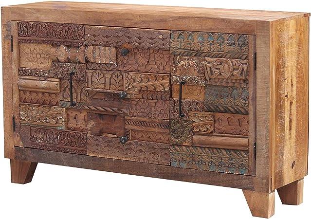 Casa Moro | Mara - Cómoda india, 150 x 40 x 90 cm, con frentes tallados a mano, diseño de puzzle, aparador estrecho de madera maciza de mango, fácil de disfrutar | CAC20501320: Amazon.es: Hogar
