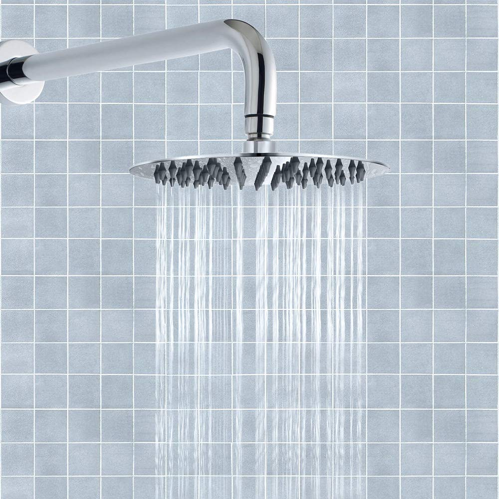 Ultra-Thin Waterfall Coverage with Silicone Nozzle Round 8-inch xify/'s Stainless Steel Fixed Showerhead