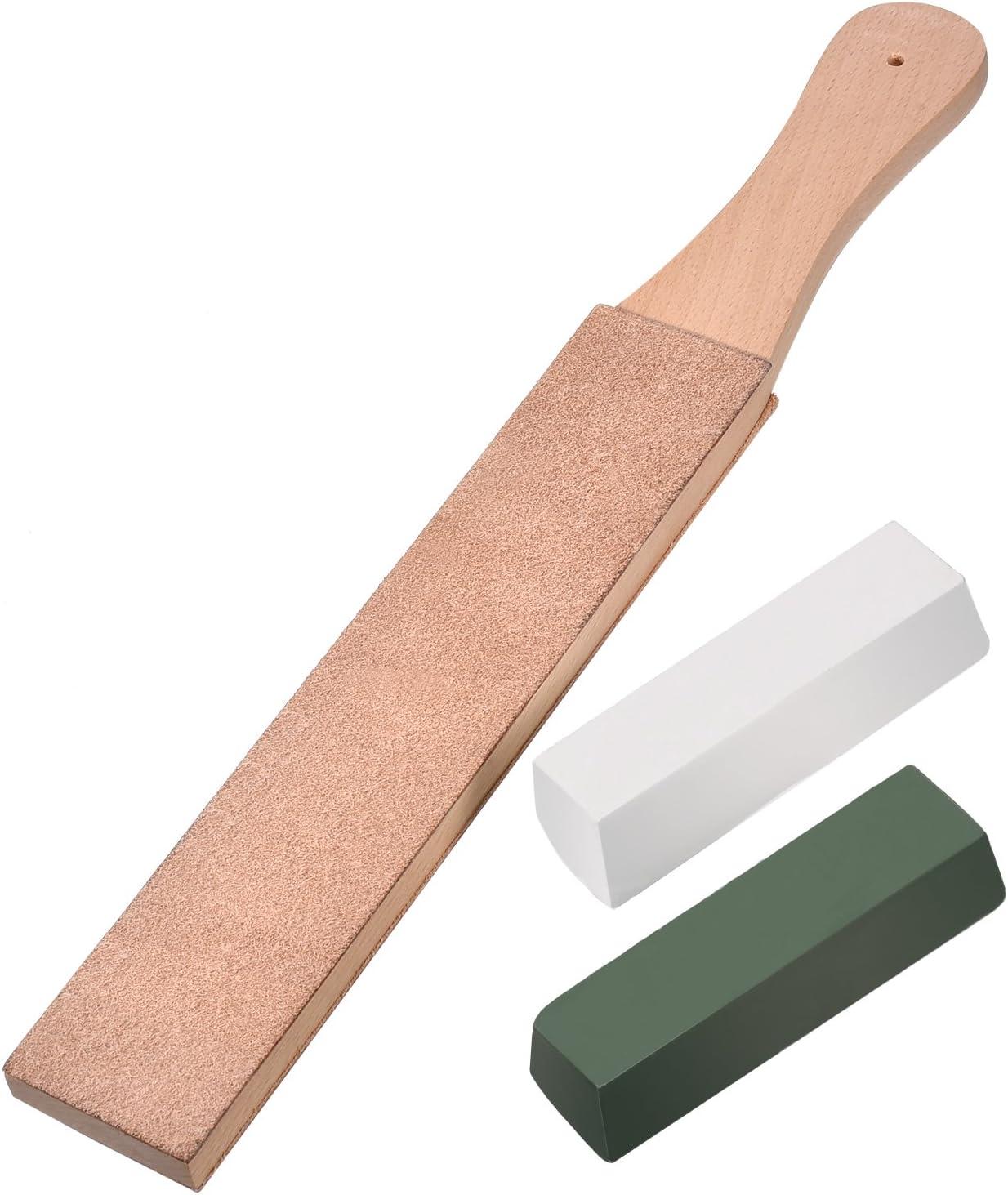 Kit de 3 Piezas de Asentador de Cuero, Suavizador de Cuero de Doble Cara Tira de Afilador con Cera de Pulido Pasta de Pulir Verde (Grande Tamaño)