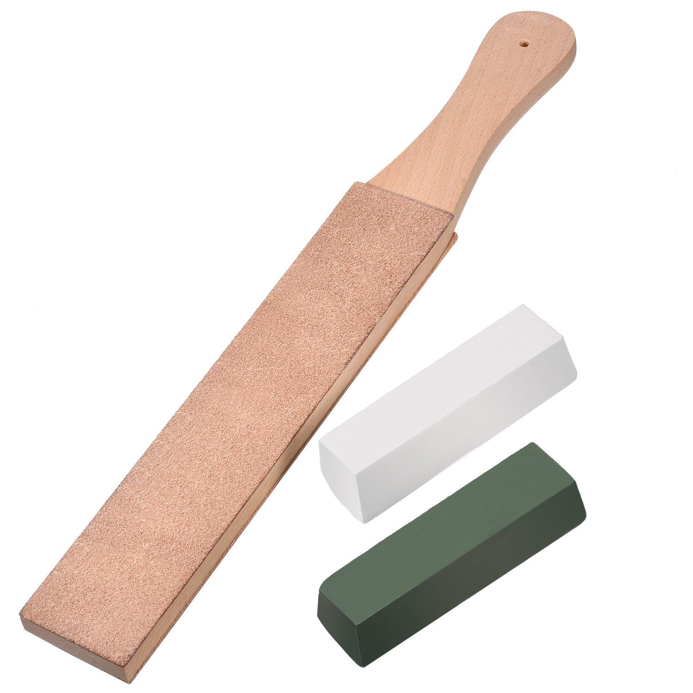 Kit de 3 Piezas de Asentador de Cuero, Suavizador de Cuero de Doble Cara Tira de Afilador con Cera de Pulido Pasta de Pulir Verde (Grande Tamañ o) Hestya