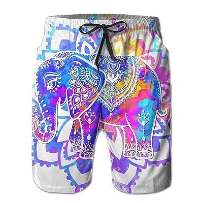 Usieis Beautiful Datura Elephant Surfing Pocket Elastic Waist Men's Beach Pants Shorts Beach Shorts Swim Trunks