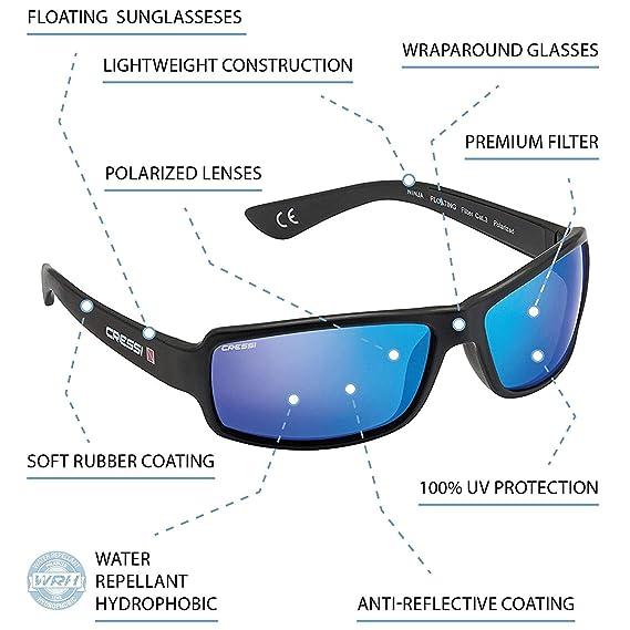 Cressi Ninja - Gafas de Sol flotantes para Adultos, Lentes polarizadas, Funda Protectora