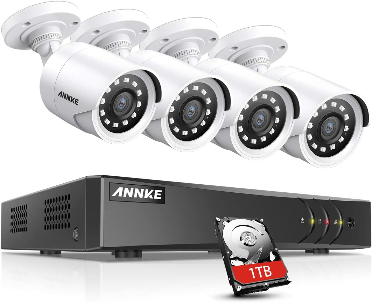 ANNKE Y200 8CH 1080P Security Camera System with 1TB Surveillance Hard Disk Drive Pre-Installed and (4) 1920TVL 2.0MP Weatherproof Cameras, Intelligent Motion Detection & Alerting Function