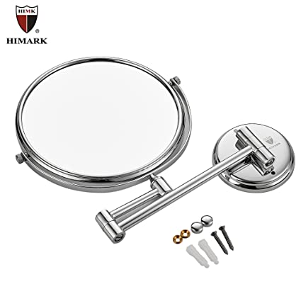 Wall Mount Makeup Mirror 10x Magnification 9 Inch Double Sided Swivel Extendable  Bathroom Mirror,