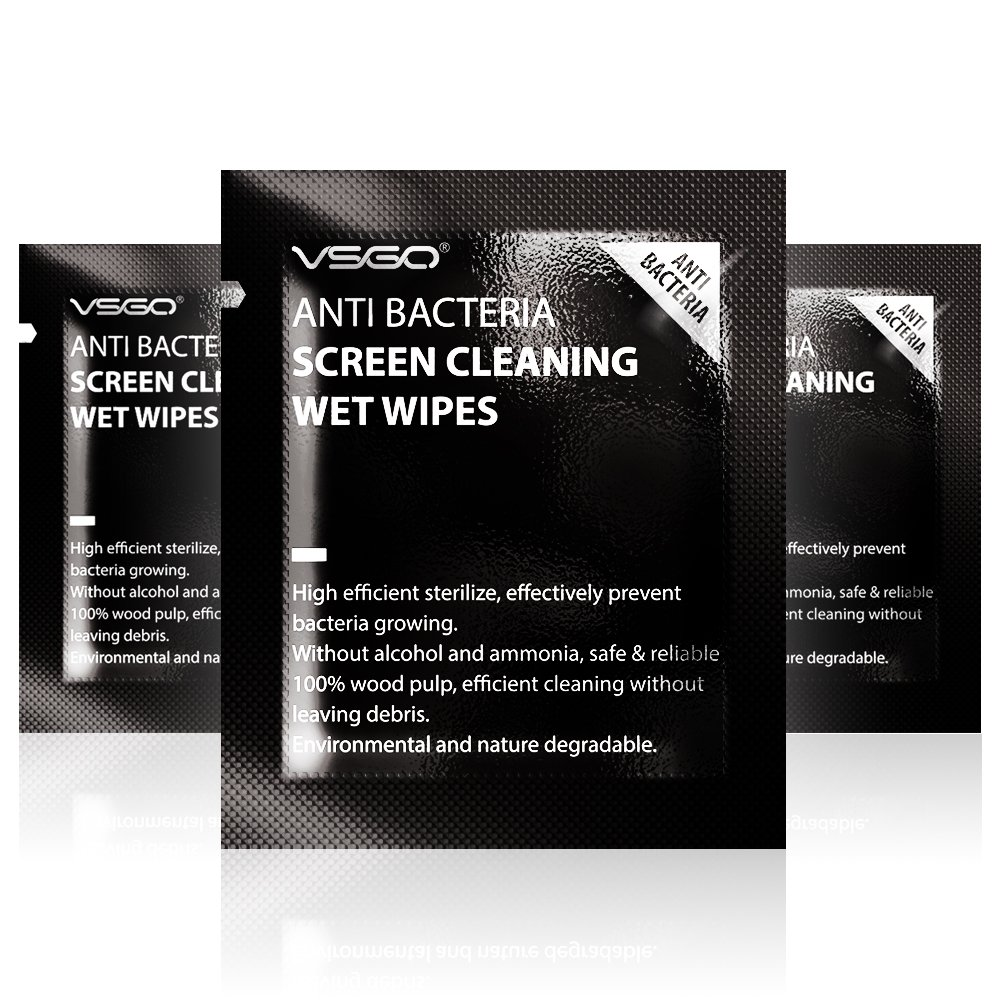 VSGO Individually Packed One-Step Cleaning Wet Wipes for Camera Lens, Phone or Tablet Screens, Eyeglasses, Sunglasses, Binoculars, Laptop and Monitor (Count: 180) by VSGO