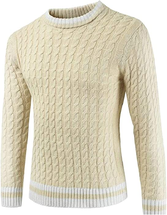 22803a3fd6837 GAGA Men s Slim Fit Long Sleeve Crewneck Cable Knit Pullover Sweater Beige  L at Amazon Men s Clothing store