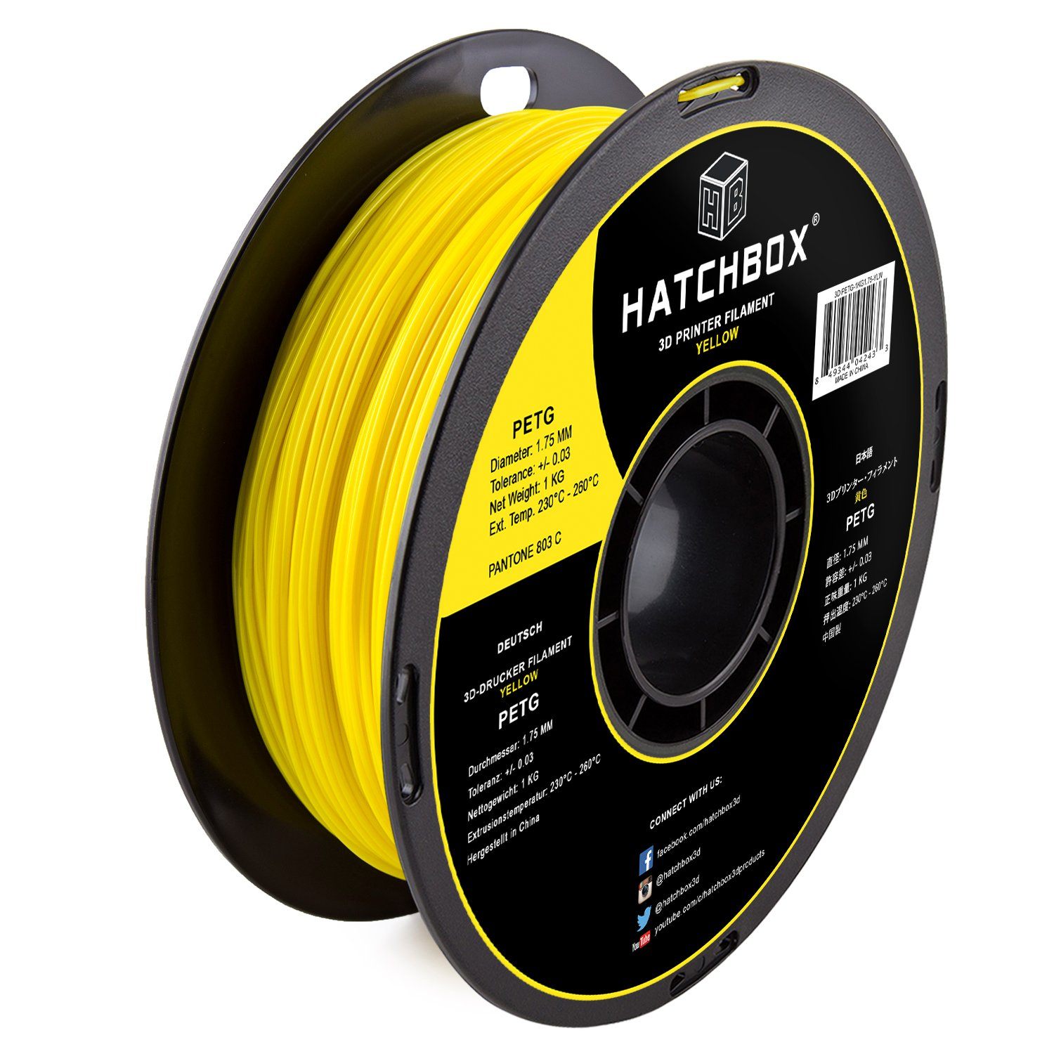 Dimensional Accuracy +//- 0.03 mm 1 kg Spool 1.75 mm HATCHBOX PETG 3D Printer Filament Yellow 3D PETG-1KG1.75-YLW