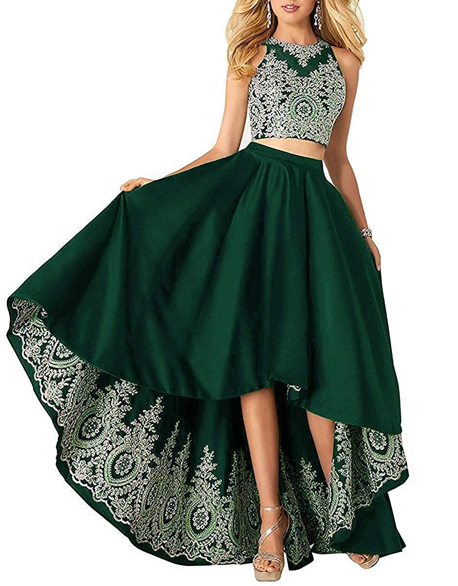 Ink Green Miao Duo Women's High Low Lace Beads Prom Party Dresses 2 Pieces Long Formal Homecoming Ball Gowns PM121