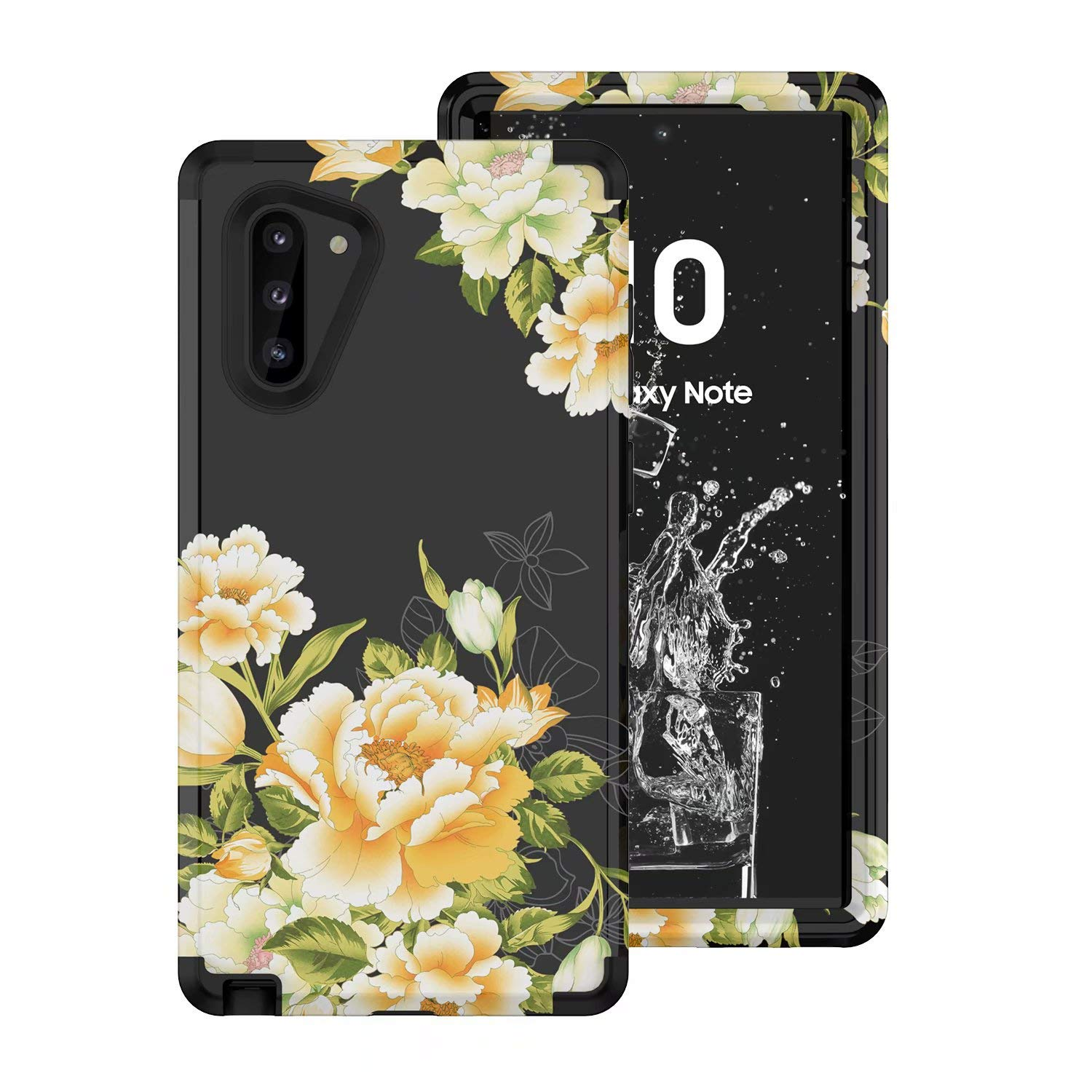 Tznzxm Galaxy Note 10 Case, Slim Fit Floral 3 in 1 Hybrid Hard PC Soft Rubber Heavy Duty Sturdy Armor Shockproof Defender Non-Slip Protective Back Case Cover for Samsung Galaxy Note 10 5G Black by Tznzxm