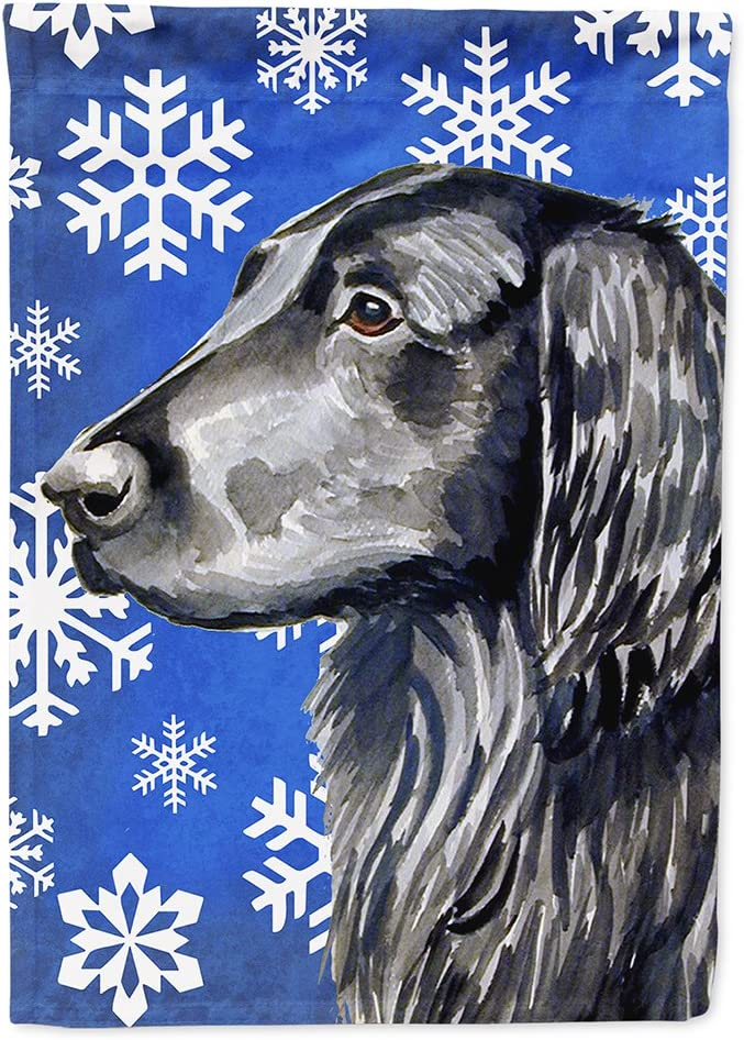 Caroline's Treasures LH9276GF Flat Coated Retriever Winter Snowflakes Holiday Flag Garden Size, Small, Multicolor