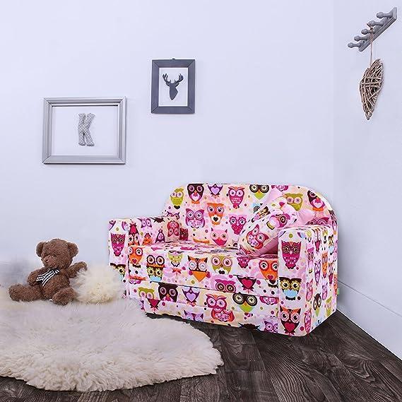 LULANDO Sofá Cama Desplegable Para Niños Certificado Oeko-Tex Standard 100 Dos Cojines Decorativos, búhos rosados: Amazon.es: Bebé