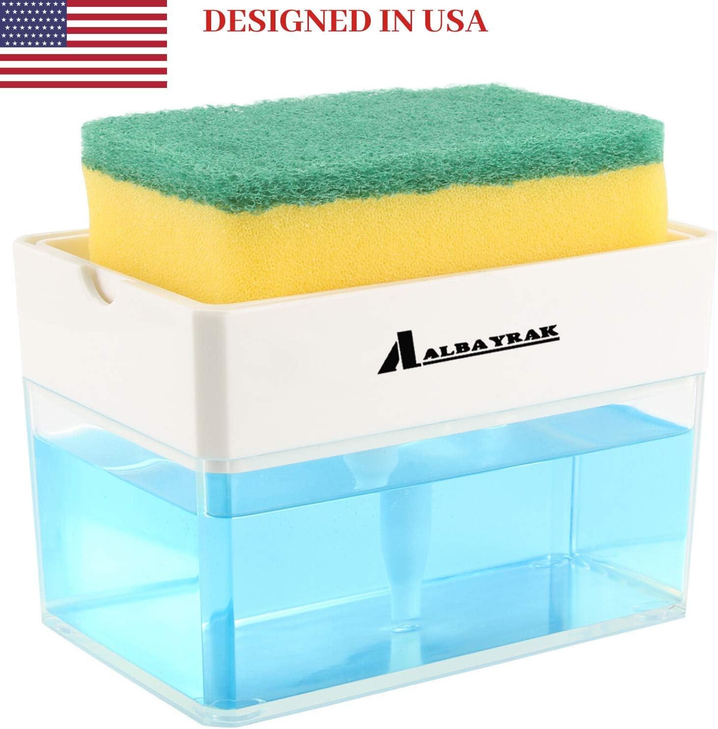 Albayrak Soap Dispenser for Kitchen + Sponge Holder 2-in-1 – Innovative Designed - Premium Quality Dish Soap Dispenser - Countertop Sink Dispenser – Instant Refill – Durable & Rust proof - 13 oz