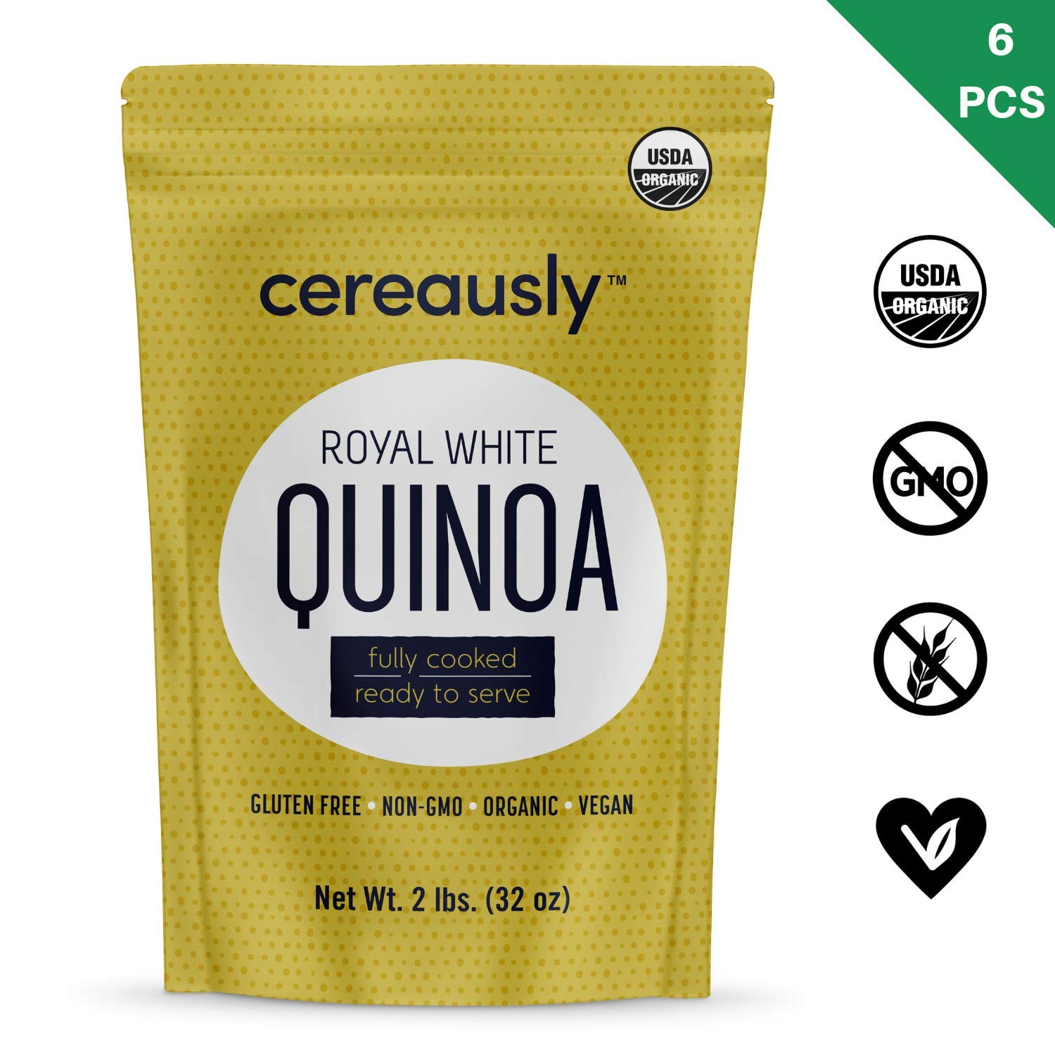 CEREAUSLY Fully Cooked Organic White Quinoa | 12 LBS | Ready to Eat | Royal Bolivian | Non-GMO | Gluten-Free | Vegan (2 LB Pack of 6) by Cereausly